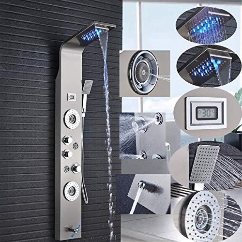 Duschpaneel LED aus rostfreiem Edelstahl mit Temperaturanzeige und 2 Massagefunktionen Farbe: (Nickel gebürstet))