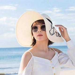 SunhatsサンハットMs手紙麦わら帽子柔らかい表面折りたたみ大型つばバイザーロールアップ休暇ビーチ帽子UPF 50+ ZIXIANG(色:ミルクホワイト、サイズ:54-59cm)