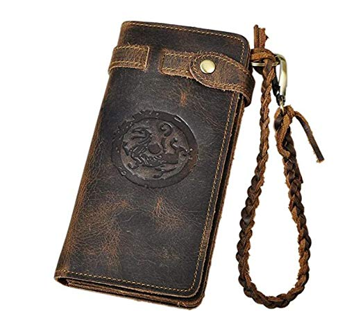 Le'aokuu Mens Genuine Leather Bifold Organizer Checkbook Chain Wallet (Brown Dragon)
