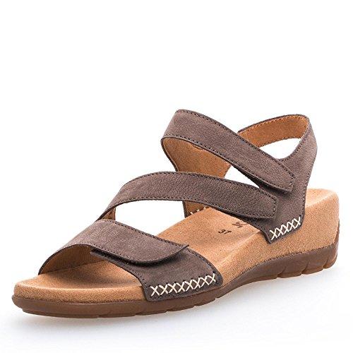 Gabor 83.734-13 Damen Sandale Nubukleder verstellbarer Klettverschluss Absatz, Groesse 44, taupe