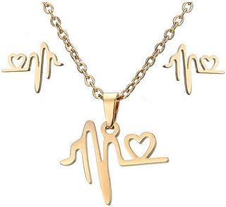Collana con orecchini in acciaio inossidabile ECG Set Ornament Necklace, 3