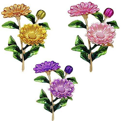 CHXISHOP Broches de Flores Elegantes para Mujer - Broches de la Flor de la joyería de la Fiesta de Bodas y los Pines para Las Mujeres Regalos de Moda 3 Pieces
