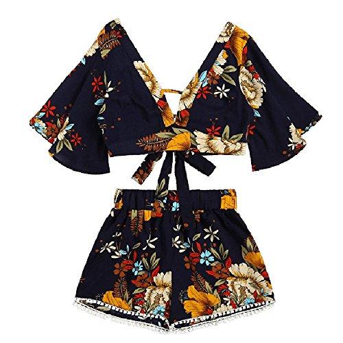 TUDUZ Shorts und Top Sets Damen Sommer Strand Zweiteiler Schulterfrei Sunflower Printed Beachwear Chiffon Crop Tops (Marine -B, L)