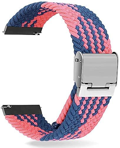 Niboow Correa Trenzada Compatible con Garmin Watch 20mm, Elástica Correa Deportiva Trenzada Compatible con Garmin Vivoactive 3/Vivomove 3/Luxe/Style/HR Vivoactive Forerunner 245/645 Music-Blue/Pink