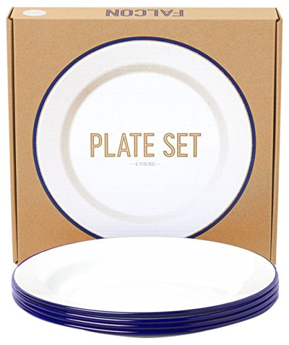 Genuine Falcon Enamelware Plate Set (White with Blue Rim)