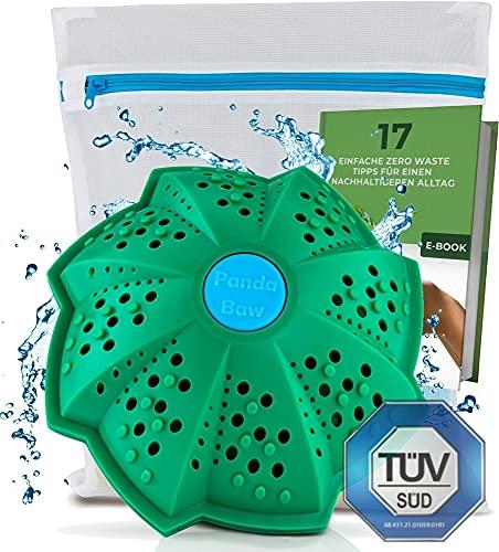 PandaBaw® Eco Wasbal [TÜV GETEST] met gratis Wasnetje - Wassen zonder Wasmiddel - Wasbal voor Wasmachine - Biologisch Wasmiddel voor Mensen met een Allergie - Duurzame Producten - 3in1 Wasbal Set