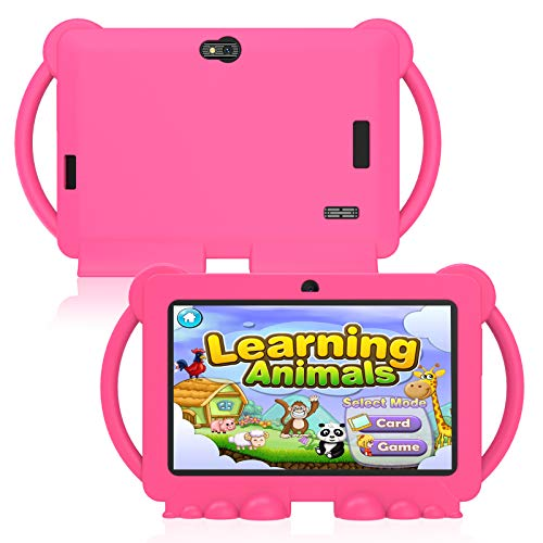 Xgody T702 7 inch Kids Tablets - Tablet for Kids with Parental Control - Android Tablet 16 GB HD Display Durable Case & Screen Protector WiFi Camera (Pink)