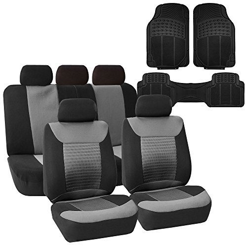 FH Group FH-FB062115 Premium Fabric Car Seat Covers, Gray/Black, Airbag Compatible and Split Bench with F11306 Vinyl Floor Mats - Fit Most Car, Truck, SUV, or Van