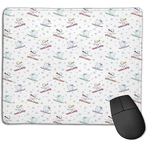 Gaming Mouse Pad Dicker Gummi Große Mauspad Matte Bär,lustige Eisbären auf Snowboards Skifahren mit Schal und Brille Verzierte Schneeflocken Dekorativ,Mehrfarben,Geeignet für Notebook-Desktop-Computer