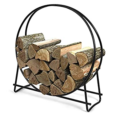 Goplus Firewood Log Hoop, Tubular Steel Wood Storage Rack Holder for Indoor & Outdoor Fireplace Pit (41 inch)