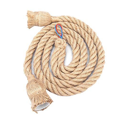 Colgante de luz Cuerda de cáñamo, Cuerda de cáñamo Accesorio de luz 1.5m 85-265V Estilo retro Múltiples cabezas de araña Lámpara colgante Lámpara de techo E27 Base Cable de lámpara (# 1)