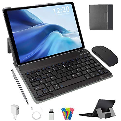 Tablet 10 Pollici Android 10.0 Pie 64 GB ROM 4 GB RAM Tablets PC con Doppia SIM | 8000mAh | WiFi | GPS | Bluetooth | Type-C | Doppia Fotocamera (8MP+5MP) con Tastiera Bluetooth e Mouse (Nero)