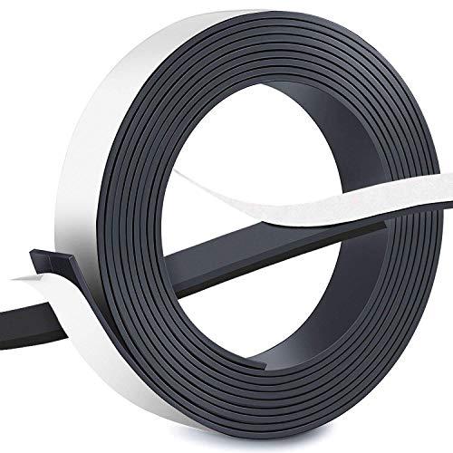 Cinta magnética autoadhesiva, FEIGO Cinta cortable de 2,5 cm de ancho x 2 mm de cinta de grosor 3 m de longitud - Magnético Cinta autoadhesiva para la imantación fija de Carteles, Fotos, Pizarra magné