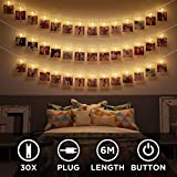 LED Fotoclips Lichterkette mit Stecker – 30 LED 6 Meter |
