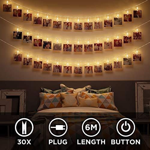 LED Fotoclips Lichterkette mit Stecker – 30 LED 6 Meter | NICHT batterie-betrieben | Klammern warm-weiß | Fotoleine für Polaroid Foto | Deko Kette zum Aufhängen von Fotos | CozyHome Lichterketten