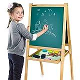 Merkell Deluxe Tableau Noir et Blanc Multifonction Avec Accessoires, Tableau Double Face, Enfant, Tableau Magnétique, Tableau En Bois 108 Accessoires Inclus