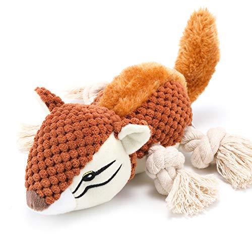 Hunde Plüschtier,Quietschendes Hundespielzeug mit Strapazierfähigem Material und Crinkle-Papier,Stofftier Kuscheltier Hund Interaktives Kauspielzeug Plüschspielzeug für kleine und mittelgroße Hunde