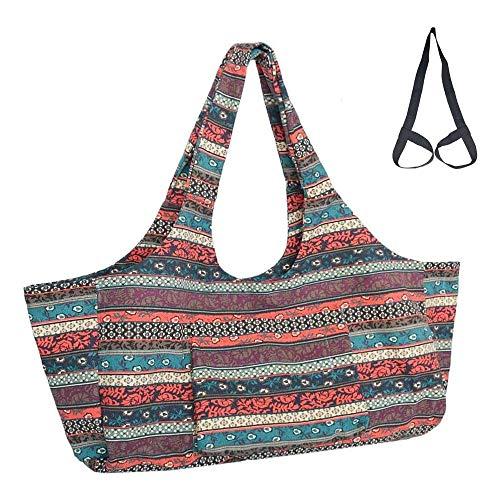 Mu Mianhua Bolsa para esterilla de yoga con bolsillo de gran tamaño y bolsillo con cremallera para la mayoría de alfombrillas de tamaño