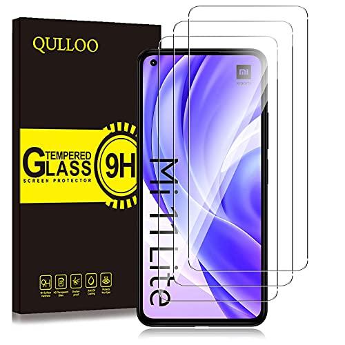 QULLOO Protector de Pantalla para Xiaomi Mi 11 Lite 4G/5G,3 Pack Cristal Templado [9H Dureza] [Anti-Huella] HD Film Cristal Templado para Xiaomi Mi 11 Lite 4G/5G