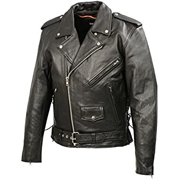 Men's Leather Motorcycle Jacket | Premium Natural Buffalo Leather | 2 Concealed Carry Gun Pockets | Adjustable Side Lace Biker Jacket with Patch Access Lining (Black, 4XL)