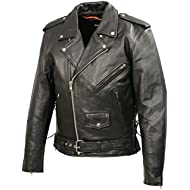 Men's Leather Motorcycle Jacket... Men's Leather Motorcycle Jacket | Premium Natural Buffalo Leather | 2 Concealed Carry Gun Pockets...
