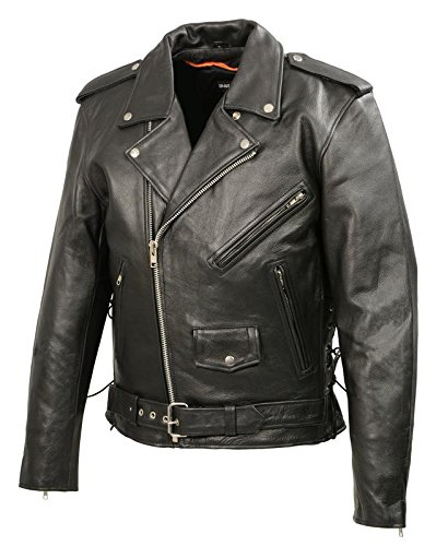 Men's Leather Motorcycle Jacket | Premium Natural Buffalo Leather | 2 Concealed Carry Gun Pockets...