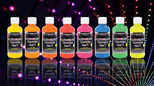 Sargent Art Neon Tempera Paint 8 ounce, 8 Vibrant Fluorescent Colors, 8 Flip Cap Bottles 8 Count