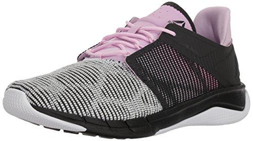 Reebok Women's Fast Flexweave Running Shoe, Coal/White/Moonglow/Acid Pink, 12 M US
