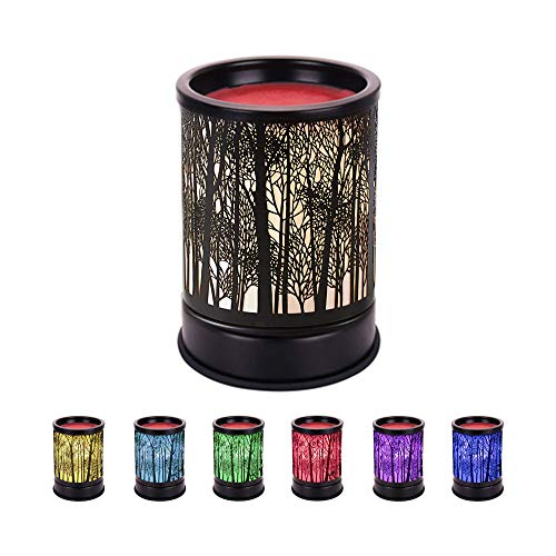 Gaea Electric Candle Warmer Black Metal Forest Wax Melt Warmer with 7 Color Changing Light Fragrance Oil Burner Tart Burner Aroma Decorative Lamp for Gifts & Decor Gift for Friend and Family (Style 2)