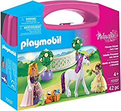 Features a majestic unicorn With 2 Play Mobil princesses Both princesses include interchangeable skirts Includes accessories All pieces fit inside the handy carry case