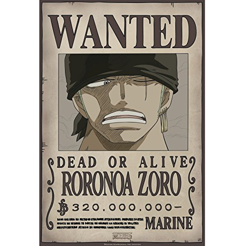 Abystyle One Piece–Poster Wanted Zoro Version New World, 52x 38cm