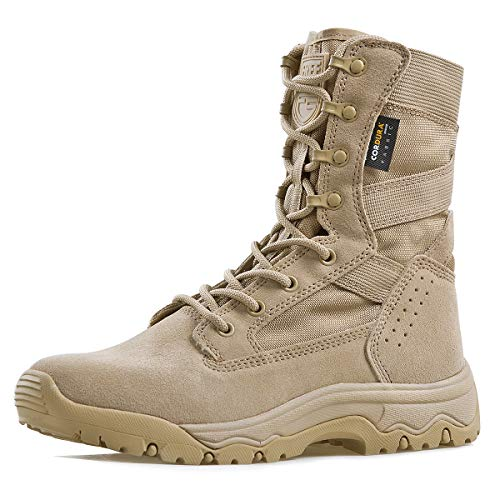 FREE SOLDIER Men's Tactical Boots 8 Inches Lightweight Combat Boots Durable Suede Leather Military Work Boots Desert Boots (Tan, 10)