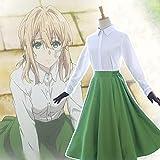 Anime Violet Evergarden Auto Memory Doll Cosplay Disfraces Trajes Blusa blanca Vestido verde Guantes Set Nuevo uniforme Camisa casual