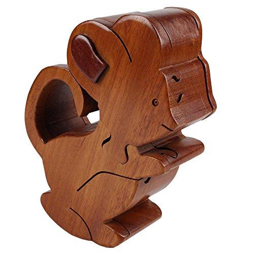 Puzzle de madera caja de ratón de caja de madera caja de joyas de la caja de joyería hecha a mano es único