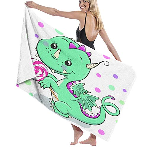 Grande Suave Ligero Toalla de Baño Manta,Dragón de Dibujos Animados Lindo con piruleta sobre un Fondo Blanco,Hoja de Baño Toalla de Playa por la Familia Hotel Viaje Nadando Deportes,52' x 32'