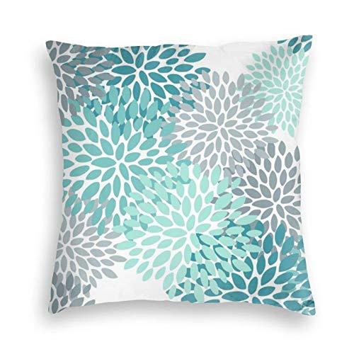Funda de almohada, diseño floral, aguamarina, verde azulado, turquesa y gris, funda de cojín decorativa cuadrada de 45,7 x 45,7 cm, para sofá, dormitorio, sala de estar