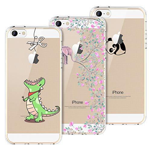 Yokata [3 Packs Funda para iPhone 5 iPhone 5s iPhone SE Carcasa Transparente Ultra Suave Silicona TPU Case con Dibujo Anti-Arañazos Caso Cover - Greedy Dragon + Panda + Elephant
