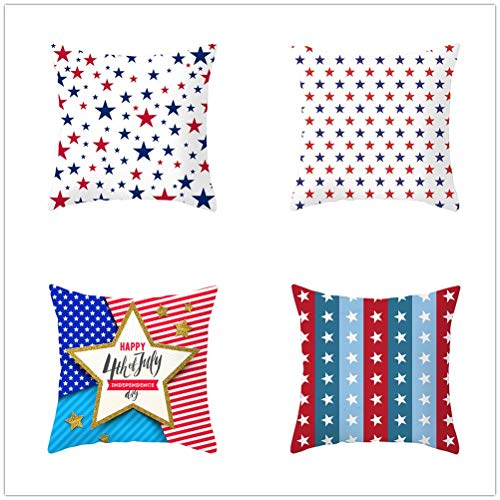 Set of 4 Pcs Throw Pillow Case Cushion Covers Five-Pointed Star Velvet Soft Superfine Fiber Square Decorative Throw Pillowcases for Living Room Sofa Car with Concealed Zip E4204 45x45cm/17.6x17.6in