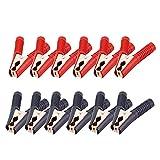 ZHITING 12 Piezas Pinzas de Cocodrilo 100A Asisladas Bateria Alligator Clip con Mango Plástico para Coche (Rojo Negro)