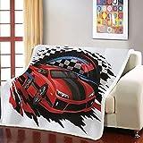 Manta Coche De Carreras Negro Rojo Blanco Manta Sofa 130x150cm Mantas para Sofá Reversible de Sherpa - 100% Microfibra Extra Suave, Manta de sofá, de Cama o de Sala de Estar