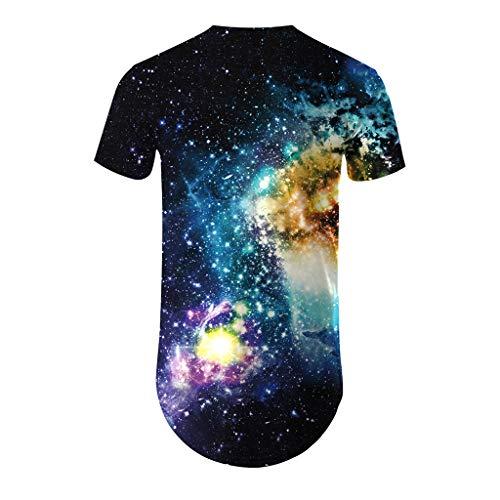 Men's Fashion 3D Printing T Shirt Short Sleeve Tops Casual Open Shirts