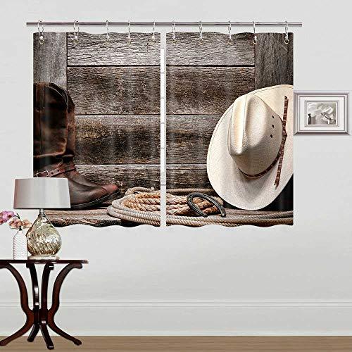 "Rustic Kitchen Window Curtains Farmhouse Curtain for Kitchen Window, Western Barn Door Kitchen Curtains Valances, Country Kitchen Curtains, Western Cowboy Kitchen Window Curtain Set with Hooks 55""X39"""
