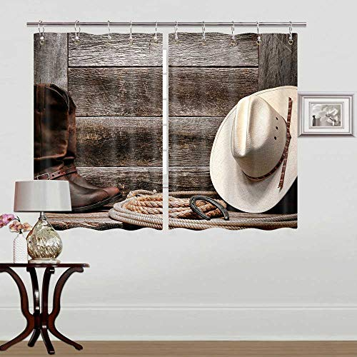 Rustic Barn Door Kitchen Curtain Window Drapes, American Western Country Traditional Straw Cowboy Hat Rustic Kitchen Curtains for Kitchen Window Kitchen Curtains Drapes 10PCS Hooks 55X39 in Valance