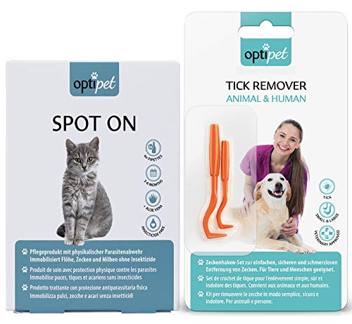 OptiPet Spot On Katze 6x1ml Pipetten + Zeckenzange 1x als Set