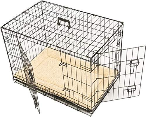 MaxxPet - Hundekäfig für Zuhause mit angenehm weicher Plaid - Hundegitterbox inkl. Kunststoff-Auffangschale mit Doppeleingang - Gitterbox als Hunde- und Welpenauslauf - (63x44x50cm) Schwarz