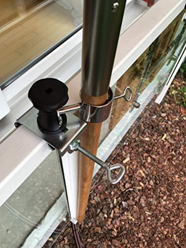 Holly Stabilo Parasol en acier inoxydable avec support rotatif à 360° pour bâtons de parasol de 33 mm de diamètre AISI - Vidéo : https://Vimeo.com/250849361