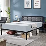 YAHEETECH Linen Upholstered Platform Bed/Premium Metal Bed Frame with Headboard for Full Size Bed, Anit-Slip Support