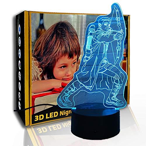 JINYI 3D Nachtlichtbogen Pfeil Bogenschütze, LED Kreativlampe, Wohnkultur, E - Alarm Clock Base (7 Farbe), LED-Beleuchtung, Kinderlampe, Office Decor Lampe, Stimmungslampe
