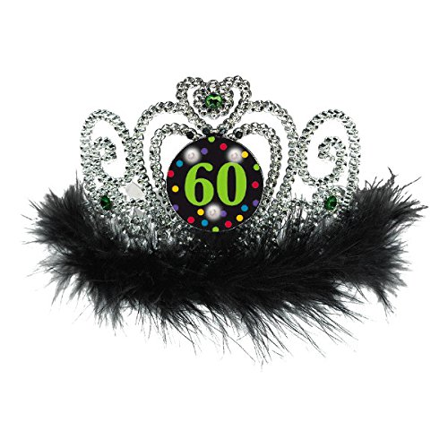 "Amscan TradeMart 250408 The Party Continuous 60th Birthday Party Flashing Tiara, Electroplated Plastic with Marabou, Silver/Black,; 4"" x 5 5/8"""