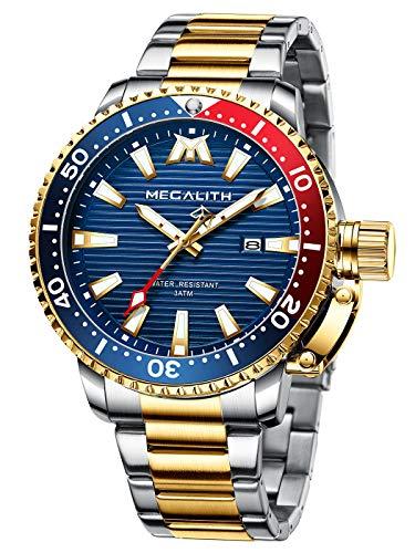 MEGALITH Relojes Hombre Reloj Oro Pulsera Fecha Elegante Luminosa de Acero Inoxidable con Diseño Relojes Impermeable Vestido Casual Negocios Relojes Analógicos Grande para Hombre